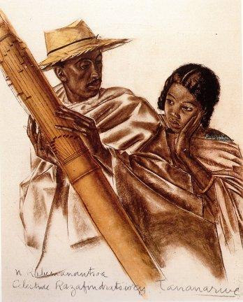 """ALEXANDRE IACOVLEFF (1925) """"Musiciens Malagasy"""" sanguine et pastel."""