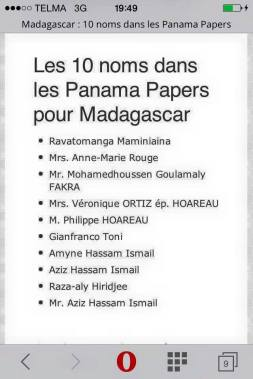 Ravatomanga Panama Papers
